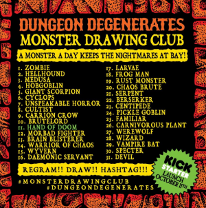 Dungeon Degenerates Monster Drawing Club